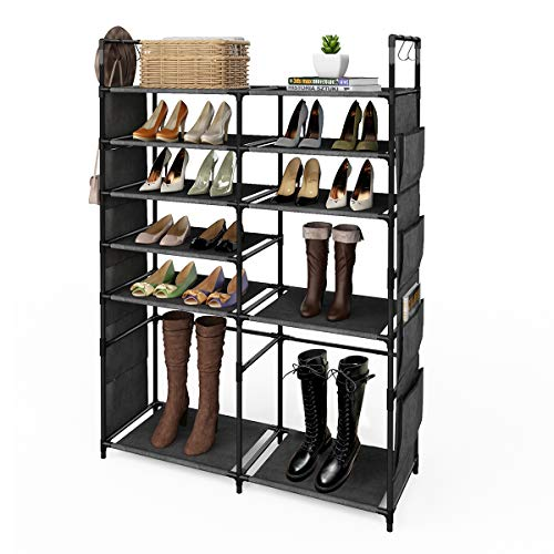 ZERO JET LAG 57' H Shoe Rack Boots Storage Organizer 6 Tiers Closet Entryway Shelf Stackable Cabinet Tower Double Row Non-Woven Fabric Metal 20-25 Pairs Black