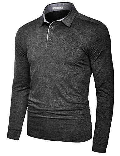 TAPULCO Fresca Mens Quick Dry Golf Polo Shirt Workout Essentials Performance 3 Buttons Comfy Elastic Big and Tall Tee Shirts Dark Grey X-Large