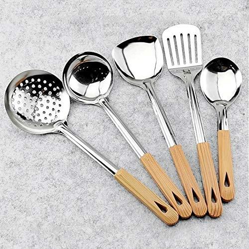 YXBDN Acero inoxidable Espátula de cocina Juego de sopa de cuchara de cocina de hierro Pala Cocina Hogar Cocinar Cuchara Colador antiadherente