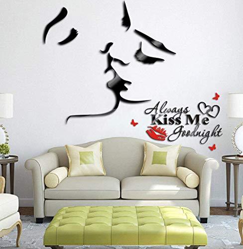 Audrey Hepburn's Smile Wall Decor Vinyl Wall Art Bedroom Decor Wall Murals Removable Wall Decor for Sofa TV Background Living Room Decor Home Decor,2Pcs/Set (Acrylic Lovers Kiss)