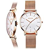 Rose Gold Ladies Watch,Thin Women Watches with Date,Womans Watch Waterproof,Women Watches for Sale,Gold Steel Watches for Women,Womens Watches Clearance,Female Watch,Simple Lady Watch,Slim Watch Women
