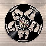 JXWH Horloge Murale de Football Art Mural de Football Disque Vinyle Horloge Murale Joueur de Football Silhouette décoration Murale Cadeau pour Les Fans de Football