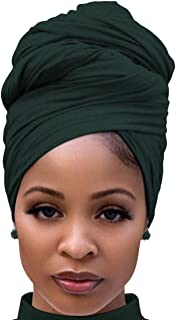 Cotton Head Scarf for Black Women Summer Thick Headwear for Natural Hair Accessories Dark Green