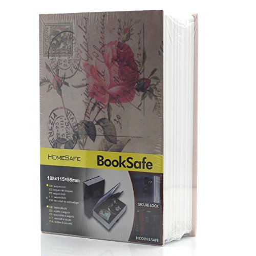 Riipoo M Size Book Diversion Hidden Book Safe with Strong Metal Case Inside and Key Lock (Rosiness,Size 18011555 MM)