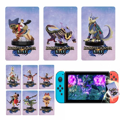 9 Pcs Suitable for monster hunter rising amiibo card nfc tag game card With portable leather Holder Compatible with Switch / Switch Lite, Wii U (Palamute, Palico, Magnamalo)