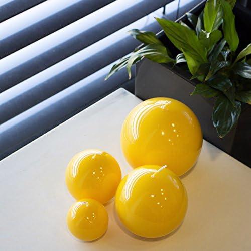 Bougies rondes Pour No/ël Jaunes et brillantes 60 mm Kugelkerze Disponibles en 4 tailles jaune