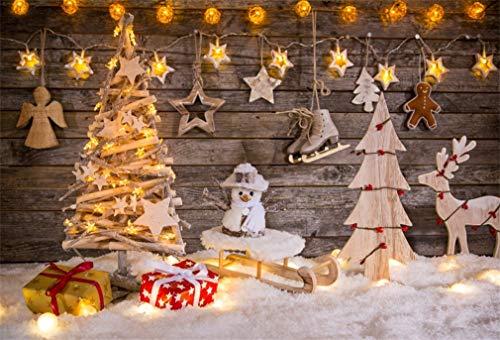 YongFoto 2,2x1,5m Fondos de Navidad Fotografia Decoración de Navidad en el Fondo de Madera Fondos para Fotos...