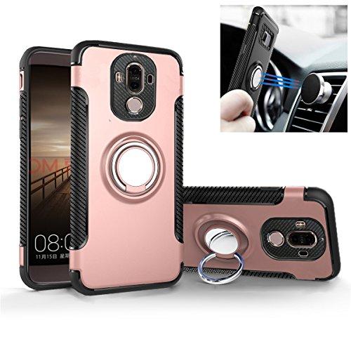 Funda para Huawei Mate 9 - Doble Armadura [Soporte Anillo Rotativo] Fibra de Carbon [Soporte de Coche Magnético] Carcasa (Mate 9, Oro Rosa)