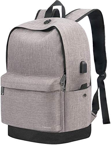 College Backpack, Travel Laptop School Backpack with USB Charging Port for Women Men, Water Resistant Middle Student Bookbag Fits 15.6 Inch Laptop, Vintage Casual Daypack for Boys Girl Grey