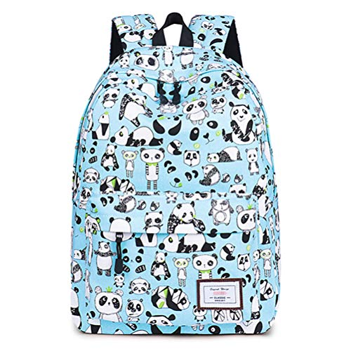 Znvmi Panda Print Backpack Unisex School Backpack Canvas Rucksack Laptop Book Bag for Girls Teenage Student - Blue