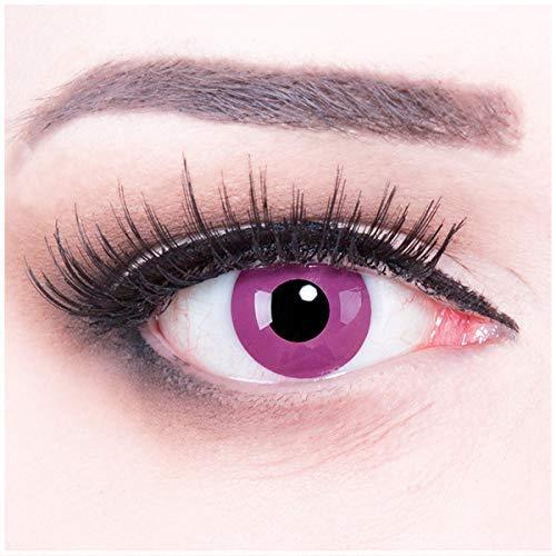 Funnylens 1 Paar farbige lila violette purple Crazy Fun Jahres Kontaktlinsen Purple perfekt zu Fasching, Karneval und Haloween, Halloween. Mit gratis Linsenbehälter!