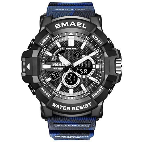 JTTM Reloj Militar para Hombre Deporte Relojes Analógico Y Digital LED Electrónico Grande Relojes Resistente Al Agua 50M,Azul