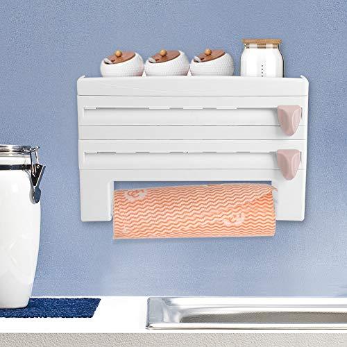 Frischhaltefolie Halter Wandrollenhalter Schneidabroller Küchenrollenhalter mit 3 Rollenhaltern Folienschneider mit Spezialmesser Papierrollenhalter für Folien, 39 x 10 x 24 cm(Weiß)