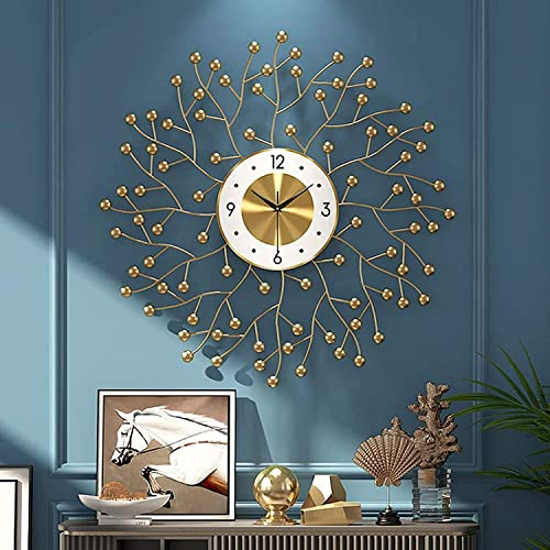 YSSSZ DIY Reloj de Pared 3D, Creative Gold Art Clock Wall Reloj Sala Estar Nordic Mute Modern Wall Clock Watch Decoración Pared Moda, 60cm/23.6in