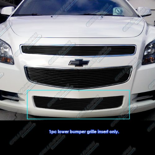 APS Compatible with 2008-2012 Chevy Malibu Bumper Black Billet Grille Grill Insert S18-H18766C