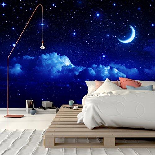 PVC Fototapete – ECO Wandbild Selbstklebende Tapete – 3D Vinyl Wandsticker - Blauer Nachthimmel SW304(400x280CM)