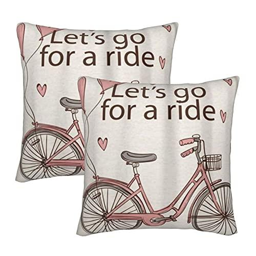 COVASA Funda de Almohada de poliéster Suave y cómoda,Let's Go For A Ride Bicicleta Rosa con Globo de corazón,Funda de Almohada Cuadrada de 2 Piezas para decoración de sofá y Ropa de Cama