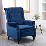 Ansley&HosHo Blue Recliner Chair Tufted Velvet Recliner Sofa Accent Studded Armchair Reclining Wing Back Upholstered Reclining Gaming TV Armchair Soft Large Single Sofa for Home Living Room Bedroom