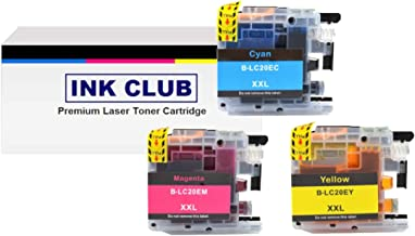 InkClub LC20EC LC20EM LC20EY (XXL) Super High Yield Ink Cartridge Set, Replacement Use for Brother MFC-J5920DW, MFC-J775DW, MFC-J985DW Printers (C/M/Y, 1C,1M,1Y)