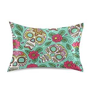 Naivey Satin Pillowcase for Hair and Skin Ethnic Skull Lotus Flower Silk Pillowcase No Zipper Slip Pillowcase Silk Standard Size Pillow Cases Pillowcases 20x26in
