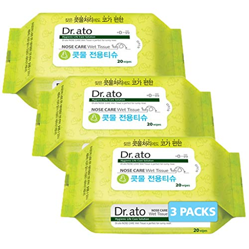 DR.ATO Nose Care Wet Tissue 20p 3 Pack (Total 60p) - Unscented Wet Wipes for Baby and Kids, Nose, Face, Hand Care   Natural Saline, Aloe Vera   Soothing and Moisturizing for Sensitive Skin