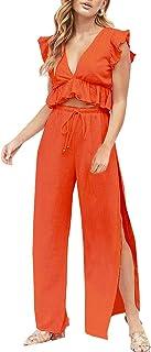FANCYINN Womens 2 Pieces Outfits Deep V Neck Crop Top...