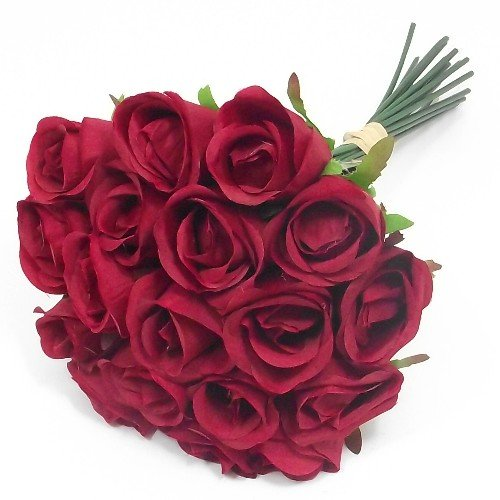 30cm Bunch / Bundle of 18 Artificial Red Roses - weddings homes grave