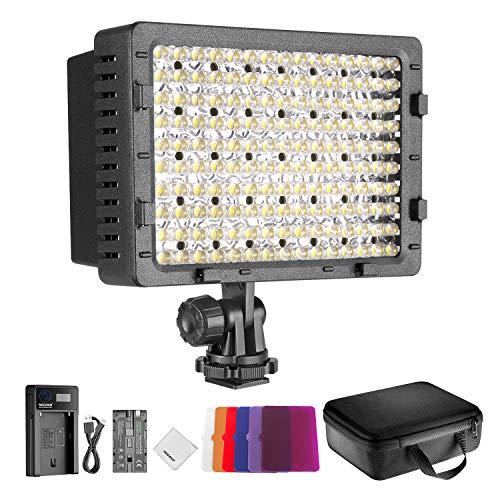Neewer Kit Luce LED CN160: Luce 160 LED Dimmerabile con 6pz Filtro Colorato (Rosso, Blu, Rosa, Viola, Arancio, Bianco), Batteria, Caricabatterie & Borsa di Trasporto per Reflex Digitali Videocamere