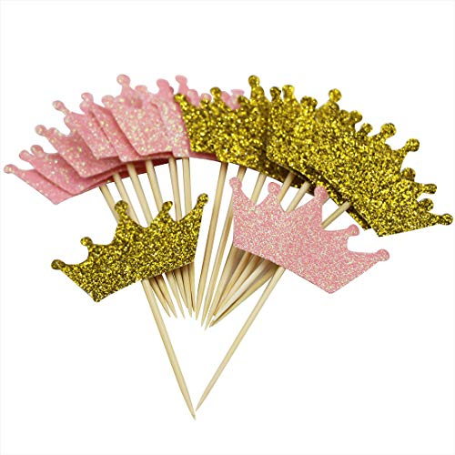 Mybbshower Glitter Pink Gold Tiara Cupcake Toppers for Girls Princess Birthday Party Gender Reveal Dessert Table Decoration Pack of 24