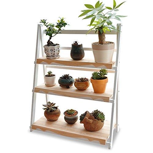 Étagères d'angle Support de fleur de bois solide de 3 couches / salon de plancher multi-couche support de fleur pliante / balcon panier de pot de fleur charnue