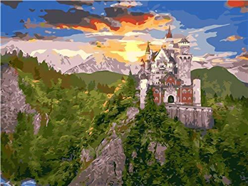 Pintura por Números para Adultos Castillo en la cima de la colina DIY al óleo Lienzo sobre Principiantes Decoraciones para el Hogar 16x20 Pulgadas (Sin Marco)