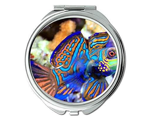 Yanteng Spiegel, Reisespiegel, Seestern-Thema des Taschenspiegels, tragbarer Spiegel 1 X 2X Vergrößerung