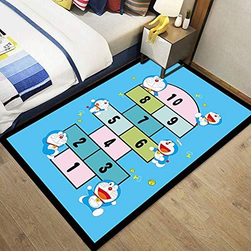 Meinianda Alfombra de Dibujos Animados Azul Anime Linda Chica Dormitorio habitación de los niños Alfombra de cabecera Sala de Estar sofá Alfombra para Gatear de bebé 140 * 200cm