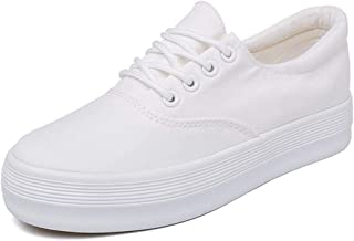Women's Comfortable Lightweight Canvas Upper Platform Lace Up Casual Walking Skate Shoes