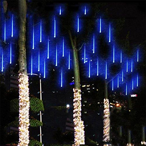 Hunpta 30CM LED Lichter Meteor Dusche Regen Schneefall Xmas Tree Garden Outdoor (Blau)