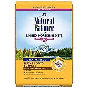Natural Balance L.I.D. Limited Ingredient Diets Small Breed Bites Dry Dog Food, Duck & Potato Formula, 12 Pounds