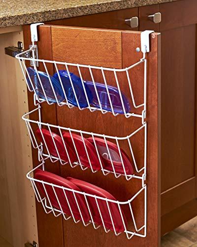 Kitchen Cabinet Door 3-Tier Wire Lid Rack Storage Organizer - White