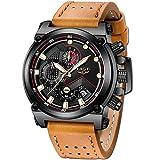 LIGE - Reloj de pulsera analógico de cuarzo para hombre, resistente al agua, color negro