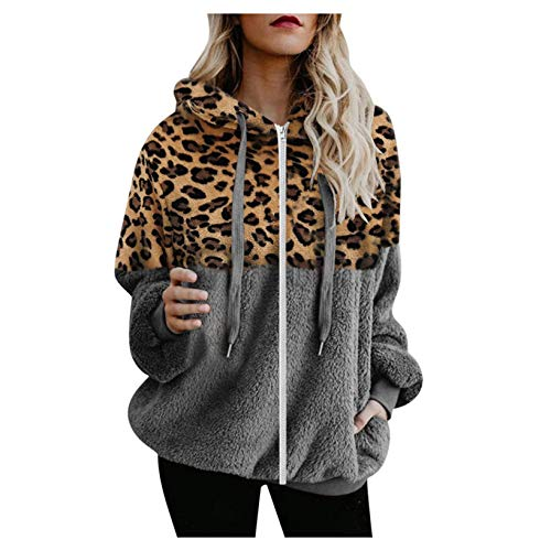 TICOOK Damen Winter Warm Fleece Jacke Kapuze Sweatshirt Reißverschlusstaschen Farbblock Mantel Plus Size Outwear