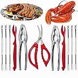 ESOOEY 11Pcs Seafood Tools Set Crab Lobster Crackers Stainless Steel Seafood Crackers & Forks Crackers Opener Shellfish Lobster Crab Leg Sheller Nut Crackers …