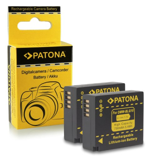 2x Batteria DMW-BLG10 DMW-BLG10E per Panasonic Lumix DMC-GF6 | Lumix DMC-GX7 e più… [ Li-ion; 750mAh; 7.2V ]