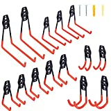 Garage Hooks Double Heavy Duty 14 Pack Steel Garage Storage System Hooks, 10 lbs of Additional Support, Wall Mount Hooks Garage Hanger & Organizer for Organizing Power Tools, ladders, Bikes(Orange)
