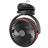 SLENPET 10000mAh Battery Operated Clip on Fan, 7 Inch USB Rechargeable Battery Powered Stroller Fan, Timer Off, 40 Hours Working Time, 4 Quiet Speeds Portable Desk Fan with Sturdy Clamp for Home, Office, Bedroom, Camping Grow Tents, Car Seat, Golf Cart