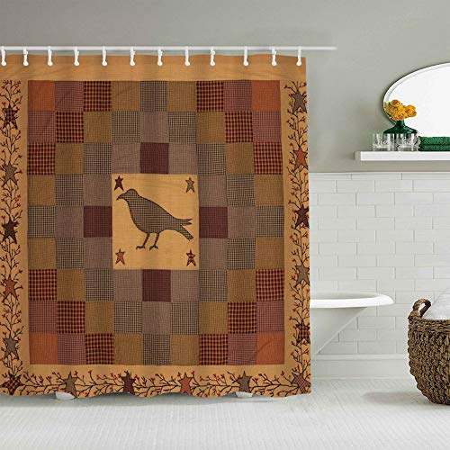 ALLMILL Shower Curtain Primitive Crow Pocket Star Vine Country Waterproof Bath Liners Hooks Included - 72 x 72 inches Bathroom Decorative Ideas Polyester Fabric Accessories