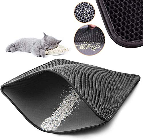 TOYOUNGUP Cat Litter Mat Cat Litter Trapper Double Waterproof Layer Honeycomb Design Best Scatter Control Traps Litter Pan from Box and Paws (Black, 5575cm)