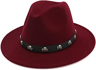 XinLin Du Felt Wide Brim Gambler Fedora Hat Skull Rivet Leather Decoration Men Women Panama Jazz Formal Top Hat
