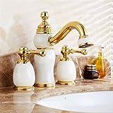 <span class='highlight'>Lalaky</span> <span class='highlight'>Taps</span> <span class='highlight'>Faucet</span> <span class='highlight'>Kitchen</span> <span class='highlight'>Mixer</span> <span class='highlight'>Sink</span> <span class='highlight'>Waterfall</span> Bathroom <span class='highlight'>Mixer</span> Basin <span class='highlight'>Mixer</span> Tap for <span class='highlight'>Kitchen</span> Bathroom and Washroom Brass Jade Retro Three-Hole Double Handle Double Open