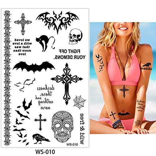 AZXPLM Tattoo Aufkleber 4 Designs 1 Blatt Halloween Festival Tattoo Kürbis Fledermaus Aufkleber Temporäre Coole Körper Hals Gesicht Diy Art Tattoo Aufkleber