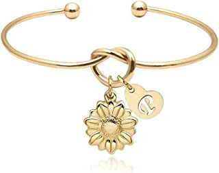 YOUCANDOIT2 Sunflower Garden Flowers Bangle Tie The Knot Stainless Steel Bracelet Heart Shaped Initials A-Z for Bridesmaid