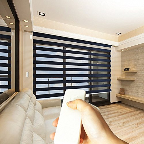 Taiwan Present Godear Design Zebra Design Roller Window Shades, Motorized-Remote, Privacy Horizontal Blinds, 27' W x 72' H (Charcoal)
